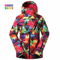 GSOU SNOW moda mujer al aire libre práctico snowboard abrigos impermeables a prueba de viento-30 grados Mujer Chaquetas de esquí transpirables