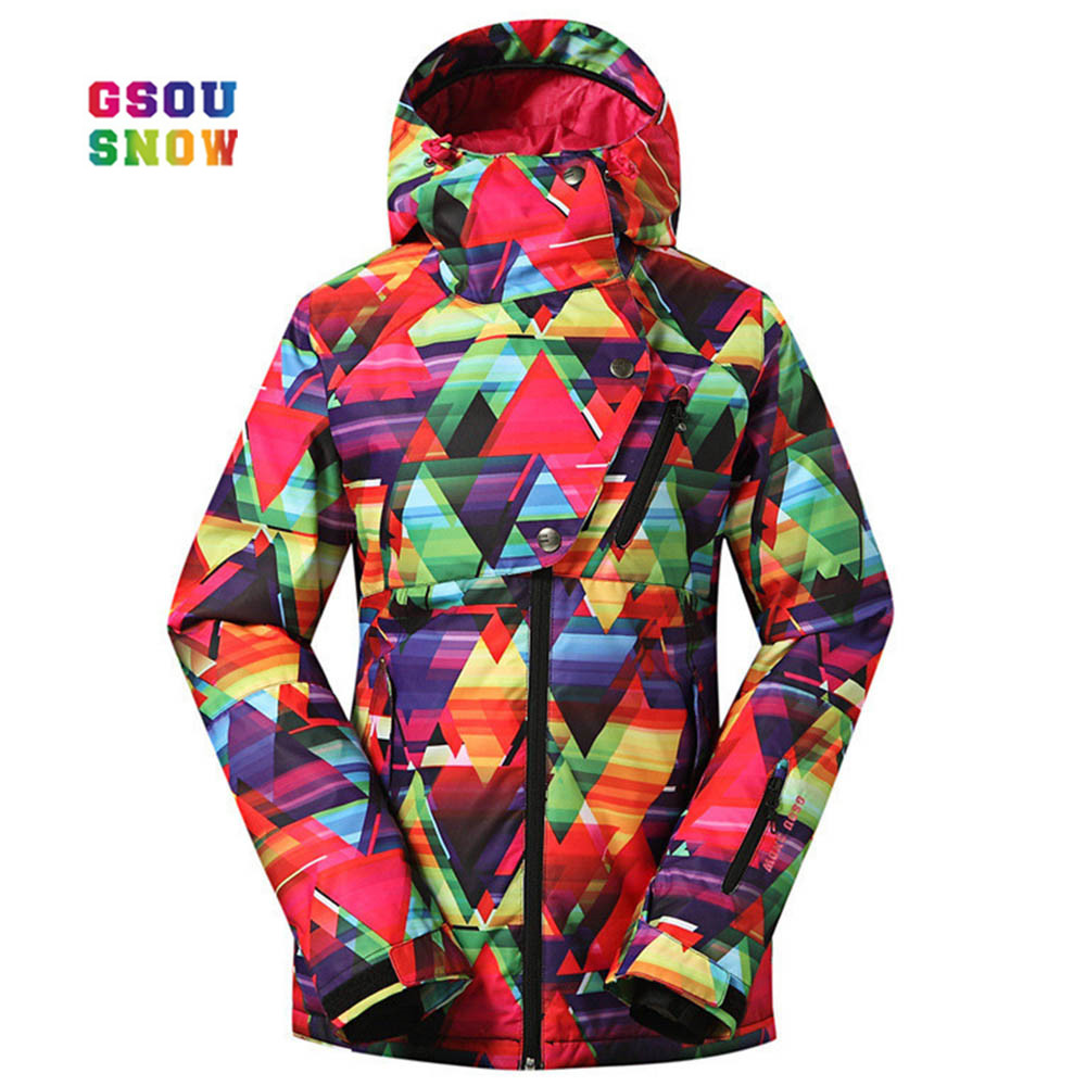 GSOU SNOW  Fashion Women Outdoor Practical Snowboarding Coats Waterproof Windproof -30 Degree Female Ski Jackets Breathble