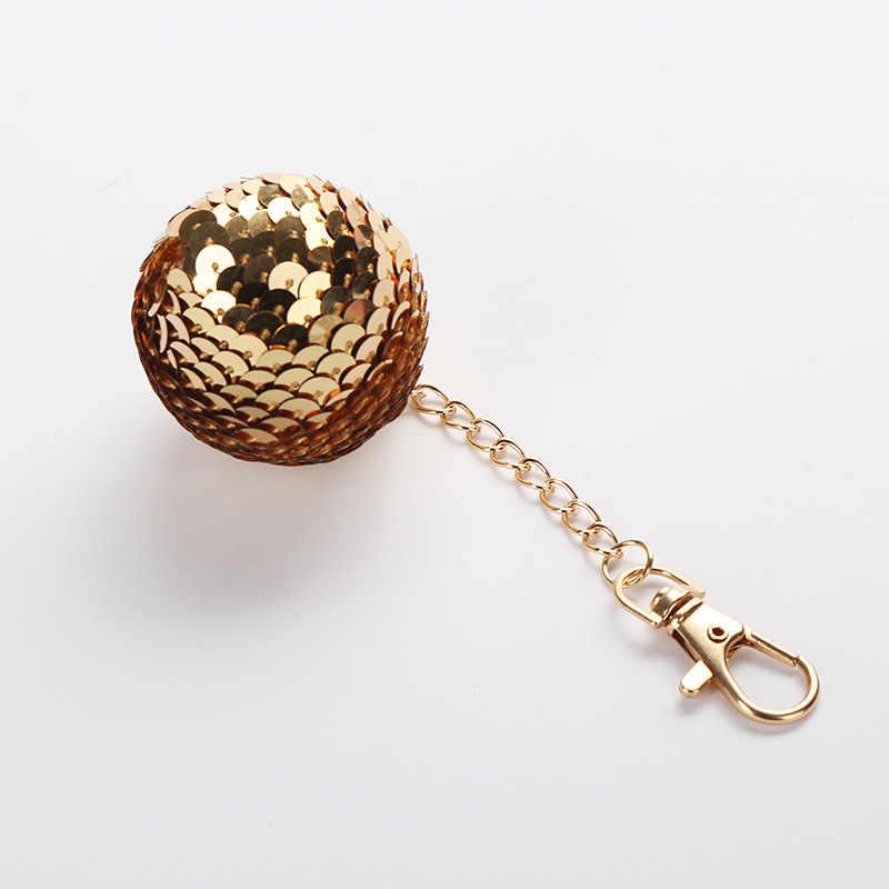 e433c5264d Fancy&Fantasy Gold Glitter Round Ball Keychain Stitch Sequins Key Chain  Women Car Key Ring Bag Charm Pendant Llaveros Anahtarli