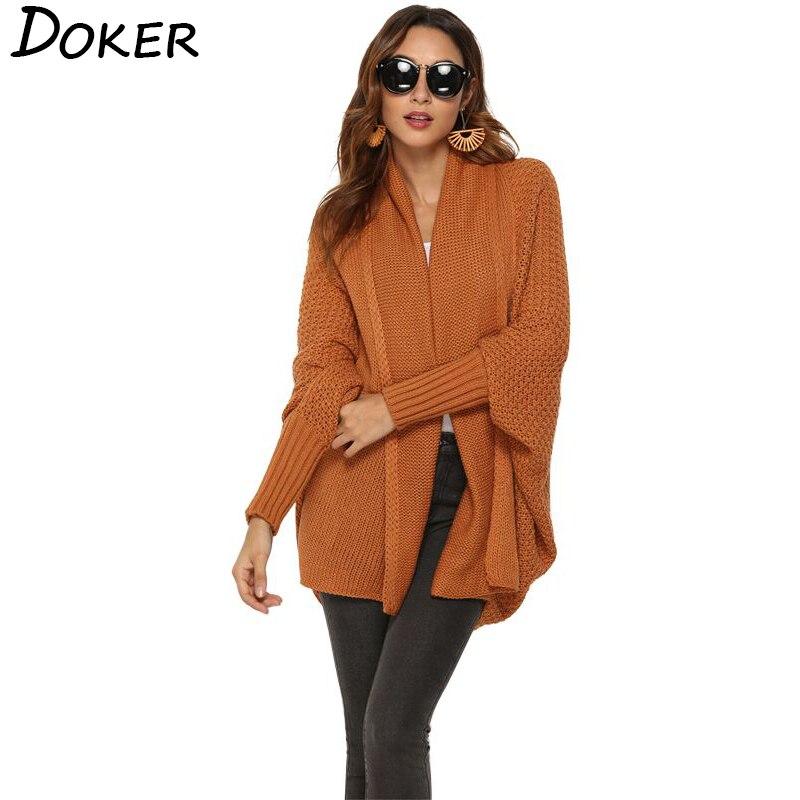 Batwing Sleeve Long Cardigan Women Sweater 2019 Autumn Winter Long Sleeve Open Stitch Knitted Coat Streetwear Plus Size Sweater