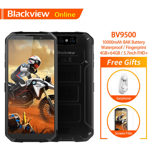 Blackview BV9500 Original IP68 Waterproof Rugged Smartphone 10000mAh 4GB+64GB Android 8.1 FHD Fingerprint Unlock 4G Mobile Phone