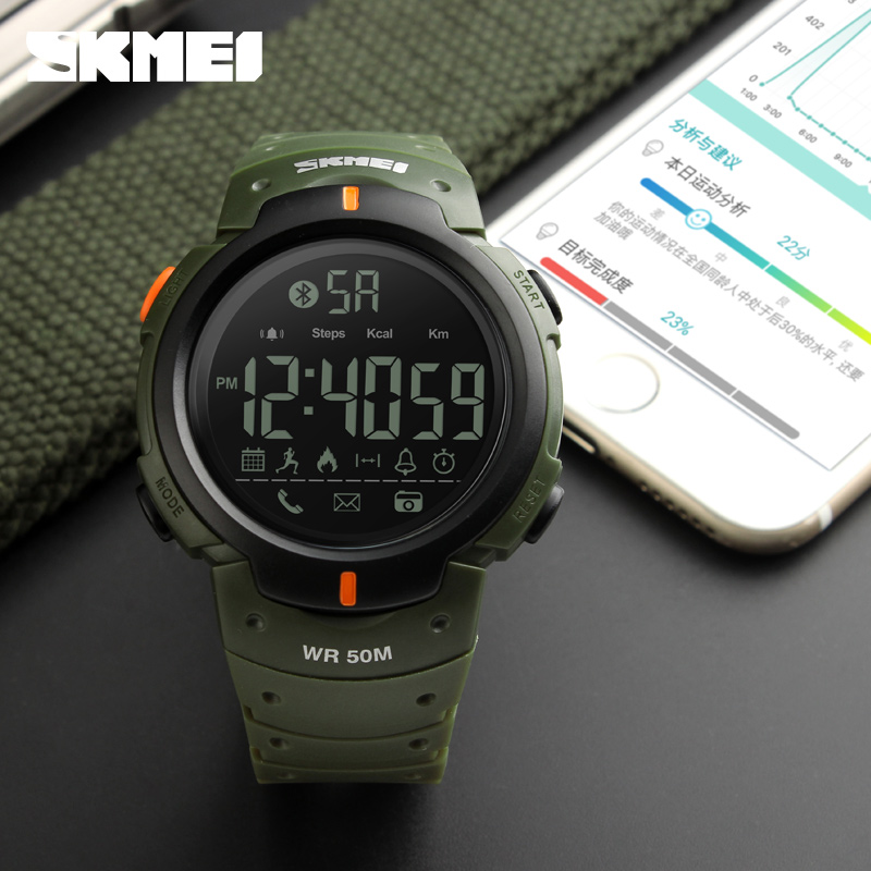 Bluetooth Calorie Pedometer Smart Watch SKMEI 1301 for Men LED Water Shock Proof Clocks Multifunction Electronic Digital Watches u80 smart watch with pedometer function