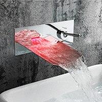Wastafelkranen LED Light Badkamer Wastafel Kranen Wandmontage Eengreeps Moderne Chrome Crane Waterval Toilet Zilver WC LT-306