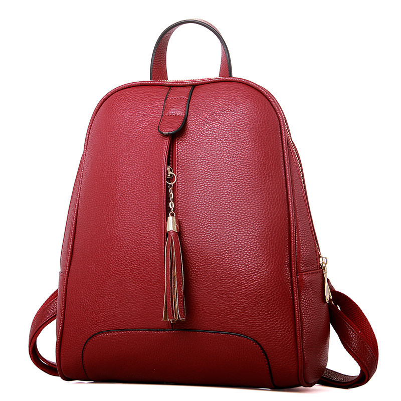 Women Leather Shoulder Bag Fashion Korean Female Mini Small Tassel Backpack School Bags For Teenage Girls