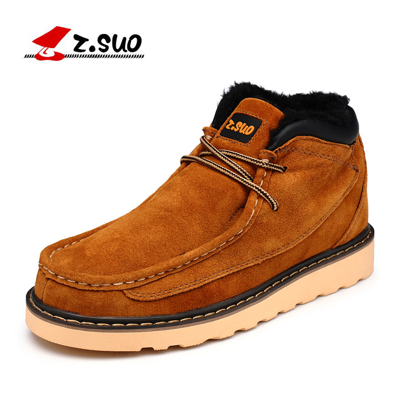 Z.suo 2018 winter couple shoes fashion warm British Martin boots men plus velvet tooling boots high to help men's shoes men shoes martin boots genuine leather male fashion casual shoe to help the high wear water resistant tooling boots