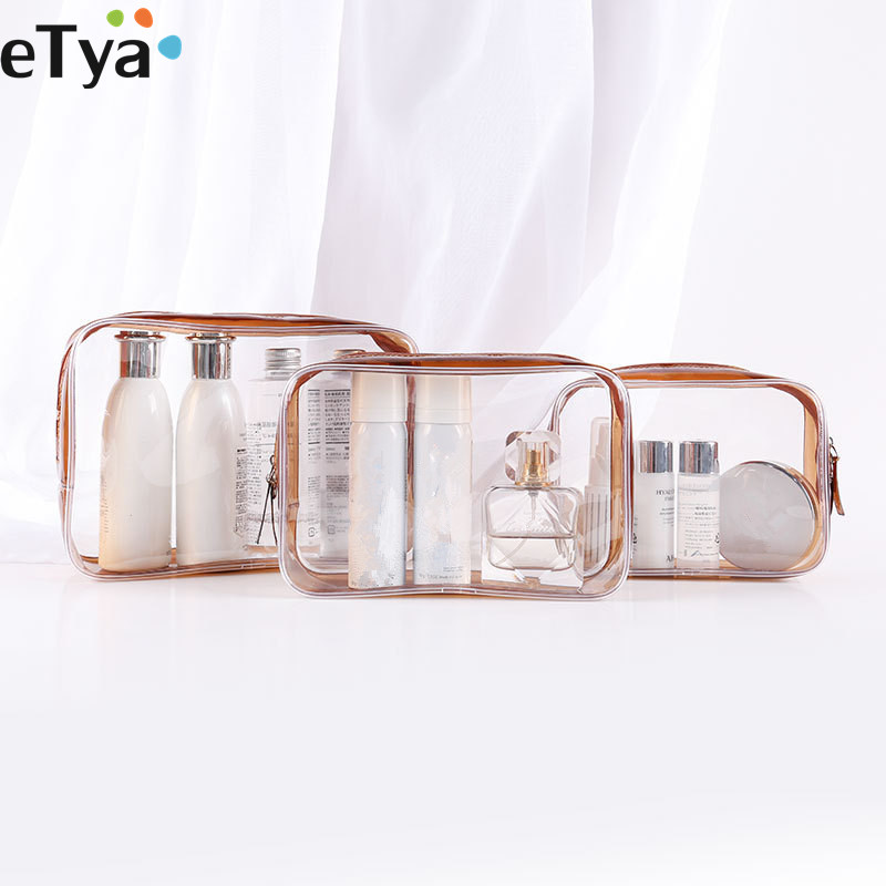 ETya Travel Clear Makeup Bag Organizer Transparent PVC Beautician Cosmetic Bags  Beauty Toiletry Bag Make Up Pouch Wash Bags