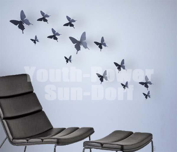 12pcs 3d wall sticker butterfly home decor art decorations for Decoration murale papillon 3d