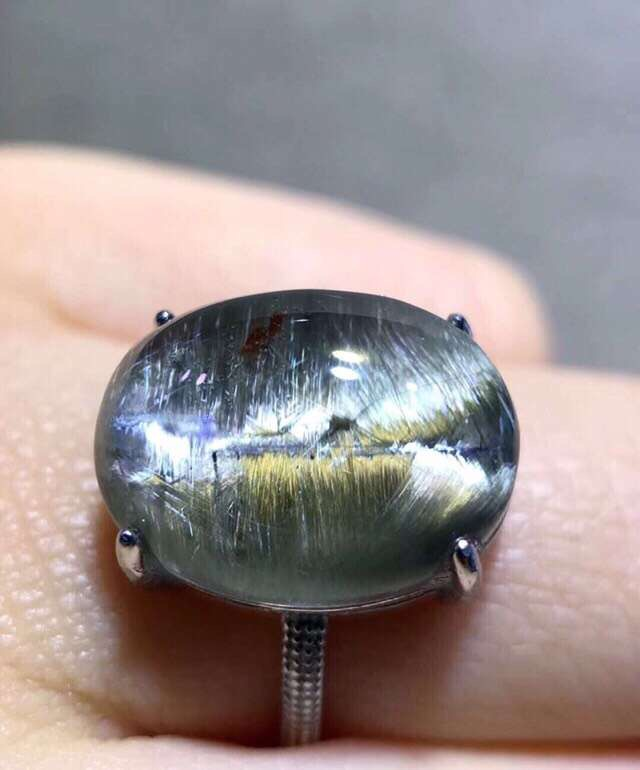 Natural Brookite Platinum Silver Rutilated Quartz Ring