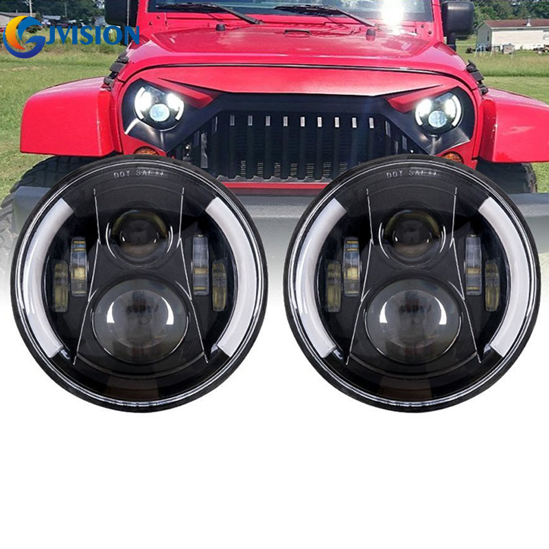 For Jeep JK Land Rover Defender Hummer 50W High/Low led headlamp 7'' inch led headlight angel eyes for Lada 4x4 urban Niva 9012 hir2 led headlight bulbs 50w 8000lm fanless auto headlamp conversion kit for toyota chevrolet cadillac buick gmc ford jeep