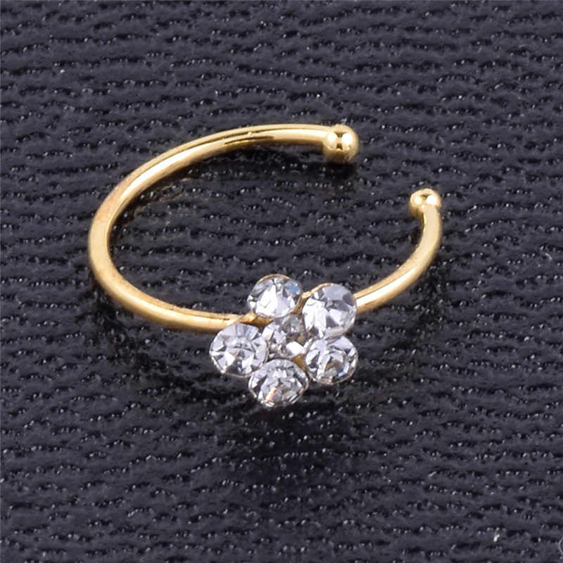 1 pc Circular Nose Ring Stainless Steel Punk Small Thin Clear Rhinestone Flower Lip Ear Nose Clip On Fake Piercing Body Jewelry