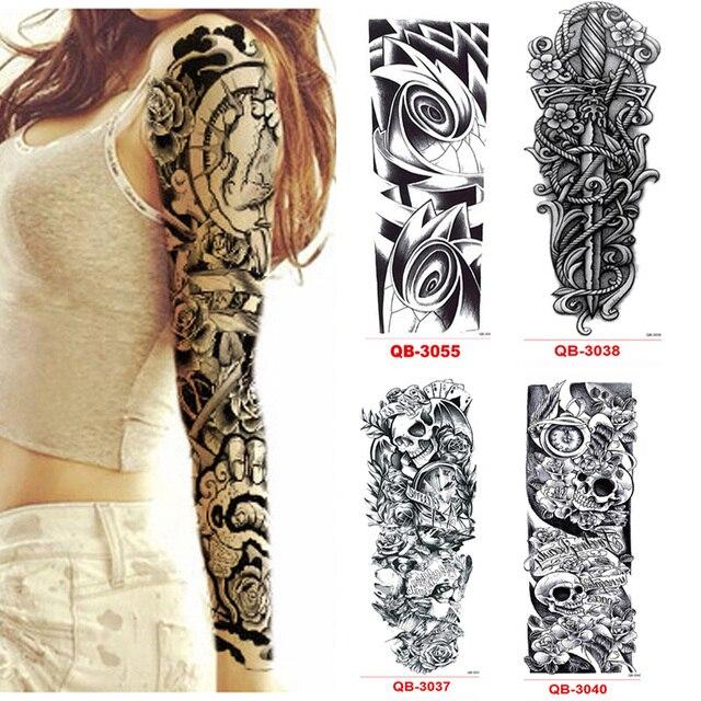 3 шт. Временные татуировки рукава Водонепроницаемый татуировки для Для мужчин Для женщин передачи наклейки Flash татуировки металлик наклейки для тела Книги по искусству