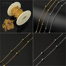 Stainless Steel Gold Chains For Jewelry Diy Enamel Twist Oval Chain Ball Beaded Chain For Women Necklace Bracelets Anklet Making(China)