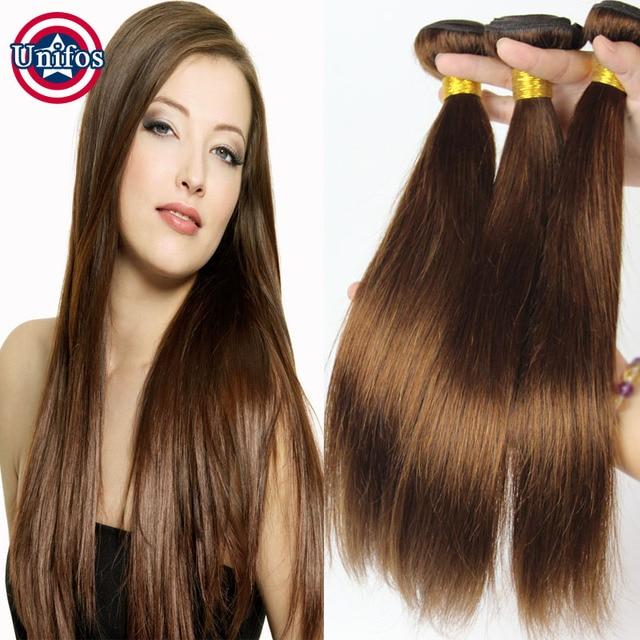 Light Brown Hair Extensions Indian Virgin Hair Straight Medium Brown