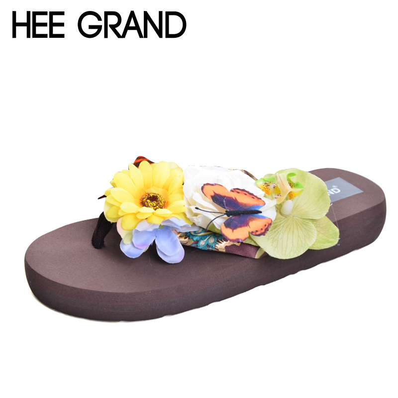 HEE GRAND 2017 Summer Flip Flops Slip On Casual Creepers Platform Flowers Shoes Woman Comfort Slippers Slides 7 Colors XWT576 lanshulan bling glitters slippers 2017 summer flip flops shoes woman creepers platform slip on flats casual wedges gold