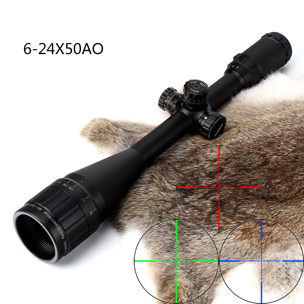 Hunting 6-24X50 AO Riflescope Tactical Optical Sight Full Size Mil Dot Red Green Blue llluminate Reticle Turrets Lock Scope 6 24x50 red