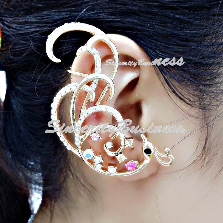 Flying Phoenix studded hung earring,Earring Jackets loop,the Korean version of Ethereal Dragon Ribbon earloop wholesale