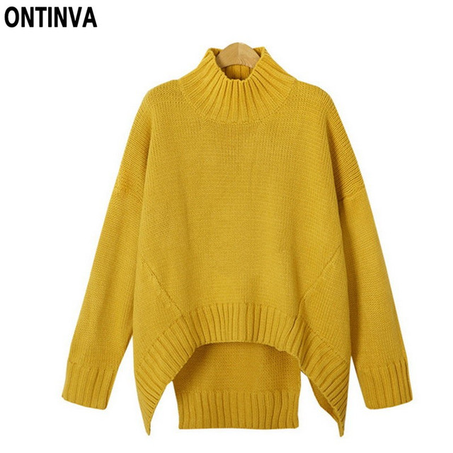 Plus Size Yellow Sweater Girls XL 3XL Woman Pullover Autumn Long ...