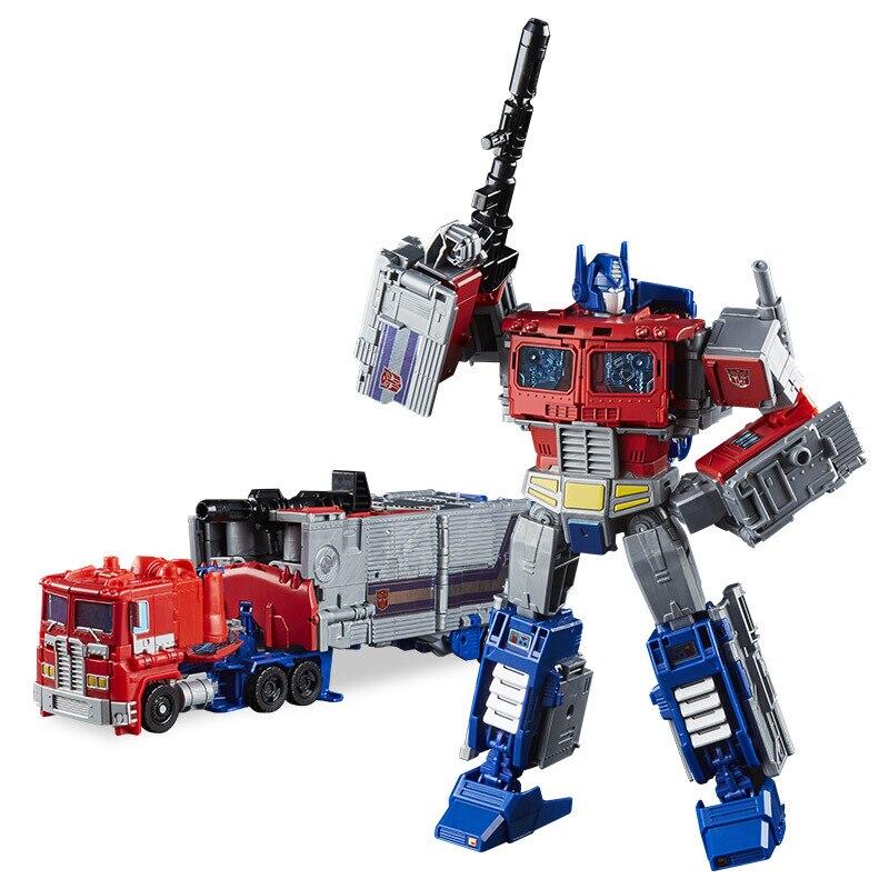 Original 25 cm Transformation Optimus premier Leader classe Leader de la guerre Robot voiture en plastique figurine jouets