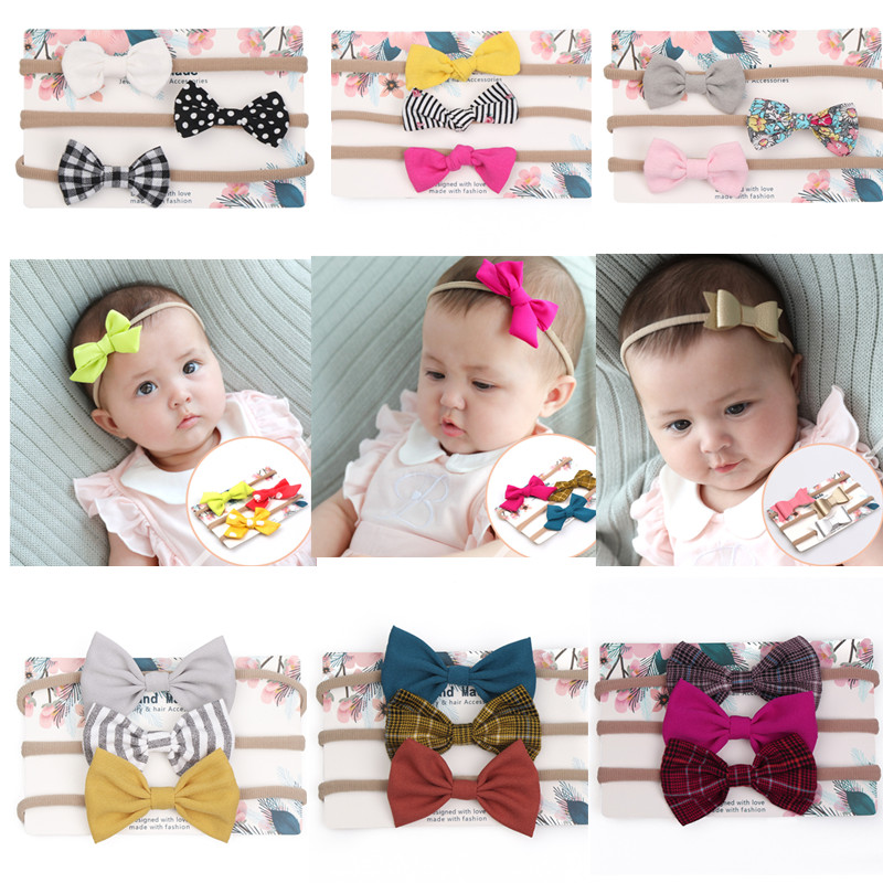3Pcs//set Newborn Hair Band Infant Baby Girl Bow Headband Headdress Headwear Hot