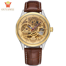 OUYAWEI Gold Men Automatic Mechanical Leather Skeleton Watches Business Casual Montre Homme Relojes Hombre 2017