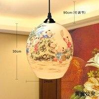 Chinese Style Retro E27 Base Iron Ceiling Plate Ceramic Pendant Light For Home Decor Wedding Gift