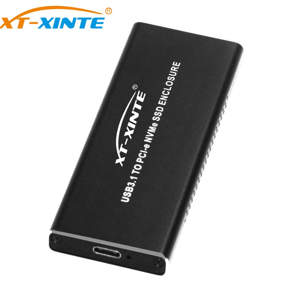 Aluminum 10Gbps USB3.1 TO PCI-E NVME NGFF M.2 SSD M KEY HDD Enclosure with Type C to Type C Cable Heatsink Hole for PC Desktop orico m 2 ssd enclosure 10gbps support uasp protocol usb3 1 gen2 type c mini ssd case clip push open type with type c to c cable