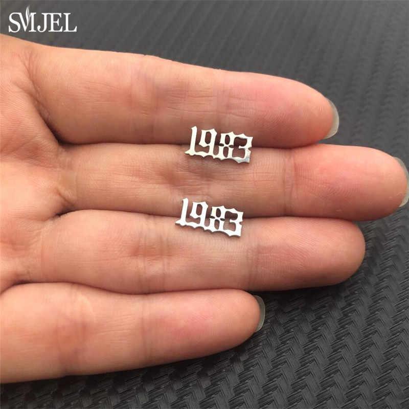 SMJEL petite année numéro boucles d'oreilles femmes mode en acier inoxydable boucles d'oreilles personnalisé année 1989 2011 cadeau d'anniversaire 1980 à 2019
