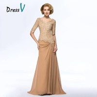 Graceful Long Dresses For Mother Of The Bride 2015 V Neck Half Sleeves Beaded Lace Vestido