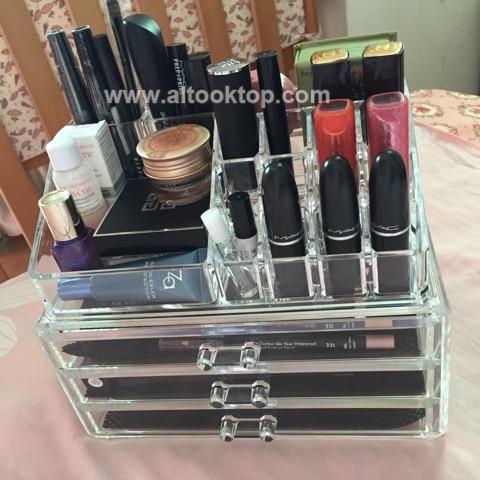 Cosmetic case make up organizer acrylic makeup storage box rangement maquillage plastic drawer holder toilette desk mess no more