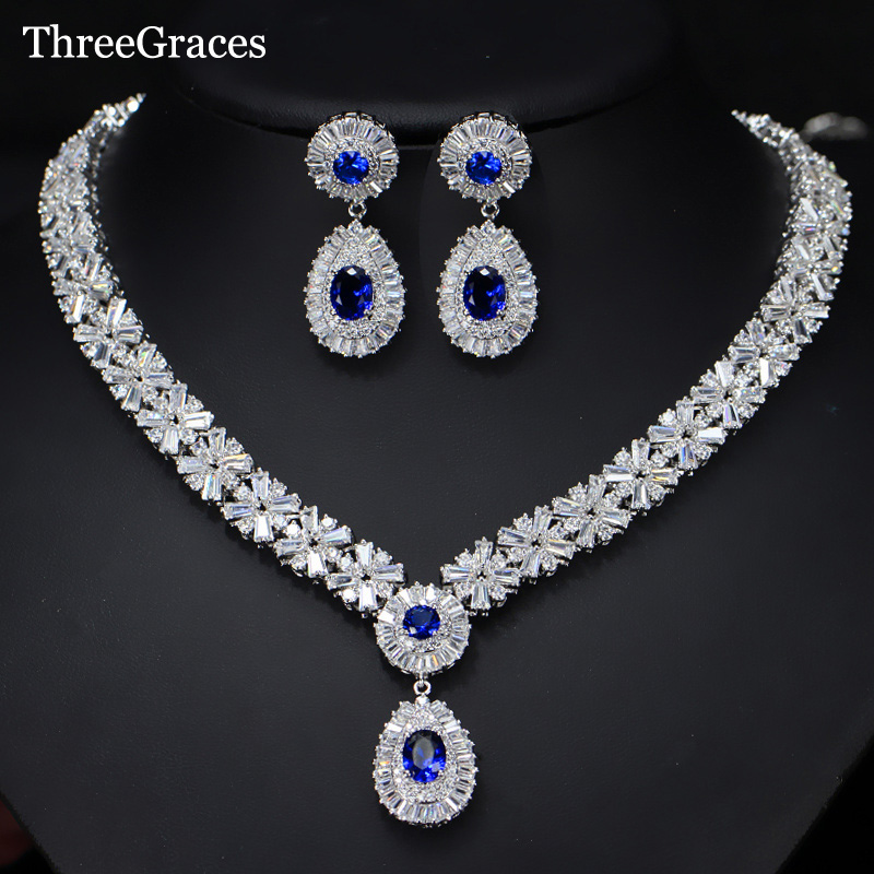 ThreeGraces Gorgeous Silver Color CZ Large Royal Blue Water Drop Necklace Earrings African Jewelry Sets For Brides JS029 a suit of gorgeous water drop alloy necklace and earrings jewelry for women