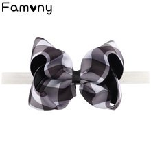 Cute Plaid Baby Hairbow Headbands For Girl Newborn Kids Bowknot Elastic Bands Headwrap Handmade Hair Accessories