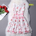 2016 A Line Flare Women Flamingo Dress Sleeveless Tank Vest Floral Print Summer Short Skater Dress Vestidos De Festa Robe Femme