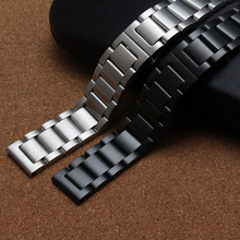 18mm 20mm 22mm 24mm Unisex Watchband straps replace Accessories Black Silver Stainless Steel Solid Links Watch Band Bracelet