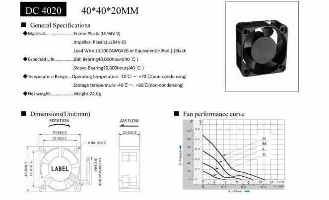 40x40x20mm Cooling Exhaust Fan 5V 0.20A 40MM 4CM 4020 DC