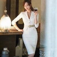 White Blazer Dress Women Spring Office Lady Half Sleeve Knee Length Dresses Sheath Solid vestido