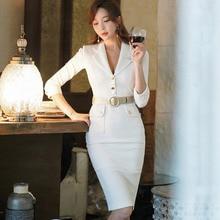 White Blazer Dress Women  Spring Office Lady Half Sleeve Kne