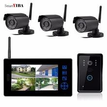 "SmartYIBA 2.4G 7""Real Time CCTV Surveillance System IR Camera DVR Touch Key Unlock Wireless Video Door Phone Intercom Doorbell"