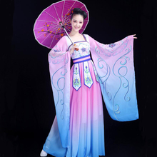 Chinese folk dance fairy costume womens classical hanfu traditional oriental clothing ancient royal elegant Stage Dance dress