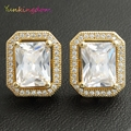4 Colors Cubic Zirconia Stud Earrings For Women Gold Plated Jewelry Accessories Party Banquet Trendy Stud Earring