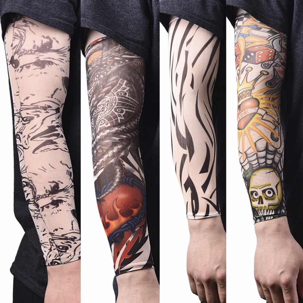 b1323f2cc New arm warmer Nylon Elastic Fake Temporary Tattoo Sleeve Designs Body Arm  Stockings Tatoo for Cool