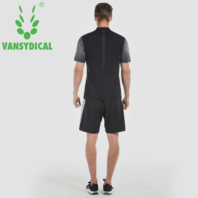Mens Quick Dry Tennis Training Tops Vansydical Printed Golf Polo Shirts Short Sleeve Running Fitness Tees