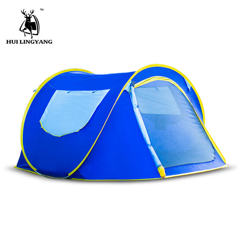 2-3 person Automatic quick opening throw tent outdoor Beach Tents throwing windproof waterproof camping hiking tent family tents round shape print beach throw