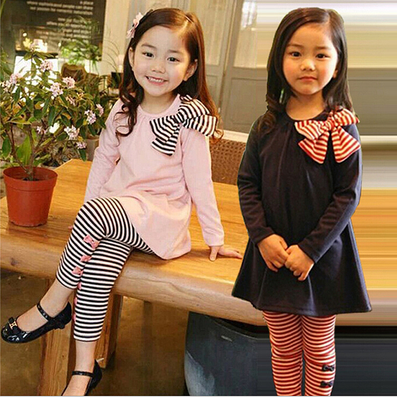 цена  DreamShining Bow Baby Girls Clothing Sets Stripe Kids Clothes Suit Autumn Dress Pullover Children Clothing 2Pcs T Shirt Pants  онлайн в 2017 году