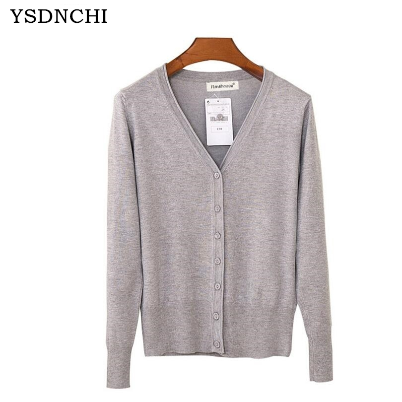 YSDNCHI High Quality 2017 Loose Womens Sweater Cardigan Spring Autumn Lady Crochet Knitted Single Breasted Shawl Cardigans Tops