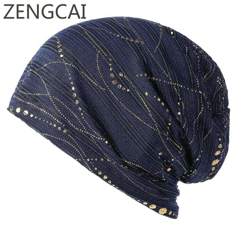 2018   Beanies   For Women Muslim Turban Hat Ladies Spring Autumn Cap Fashion Bronzing Headwrap Hats Casual   Skullies     Beanies   Caps
