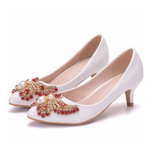 Nice New Autumn Bowtie Rhinestone Women Cute Shoes Med High Heels Fashion Comfortable Ladies Elegant Dress XY-A0145