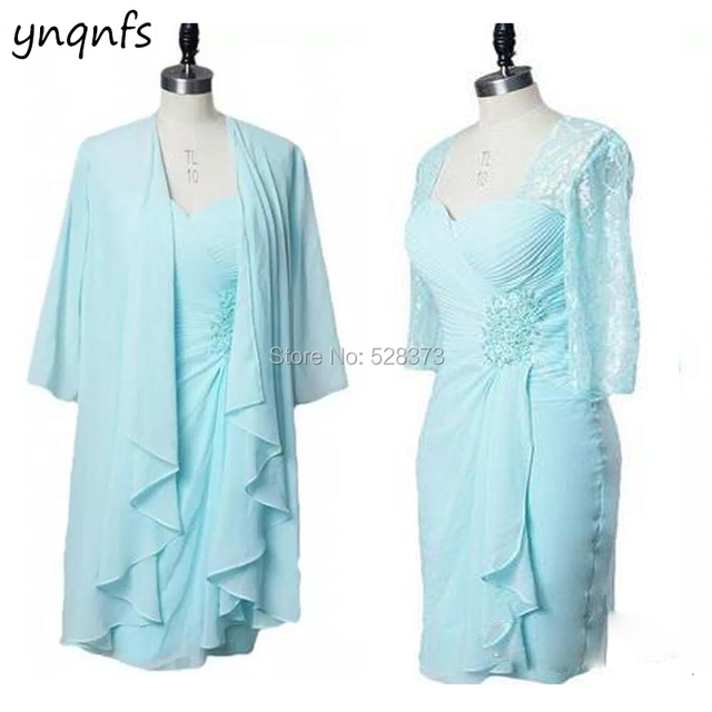 0fc49418b11 YNQNFS MD160 Elegant Plus Size Short Mother of the Bride Dresses with 3 4  Sleeves Jacket Outfits Ice Blue Party Guest Dress 2019