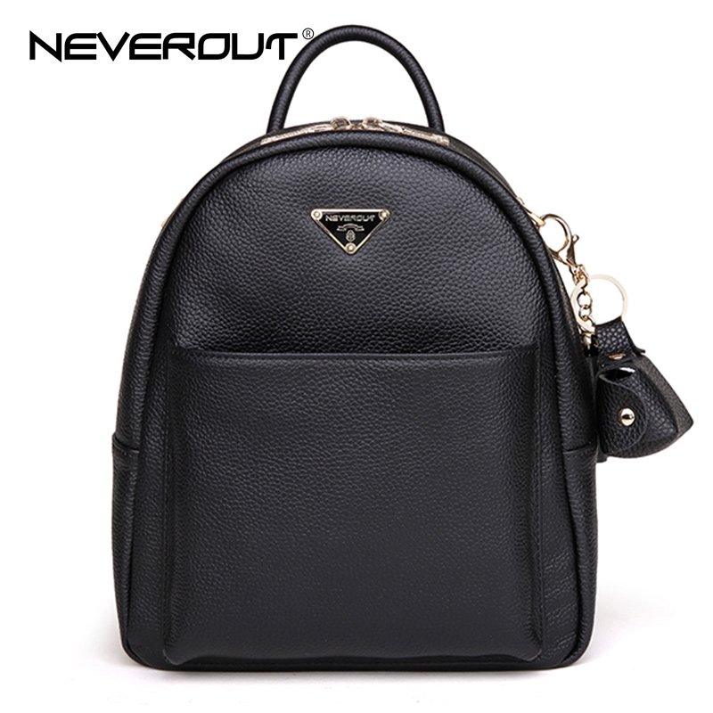 NeverOut Women Backpack Famous Brand Genuine Leather Backpacks Girls School Bags Female Travel Bags Style Casual Lady Backpack