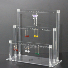 Assembled Earring Organizer Acrylic Modern Stand Holder Premium Plexiglass 42 Holes Jewelry Home Storage Store Gallery Display