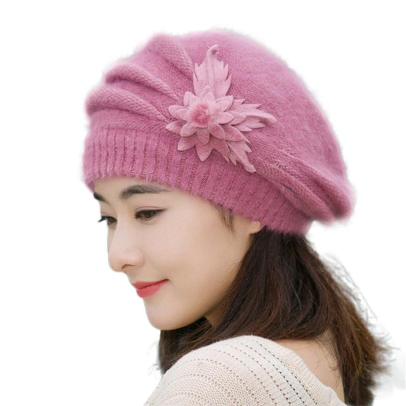 2016 winter Warm Hat For Women Knitted Wool Floral Gorros Skullies font b Beanies b font